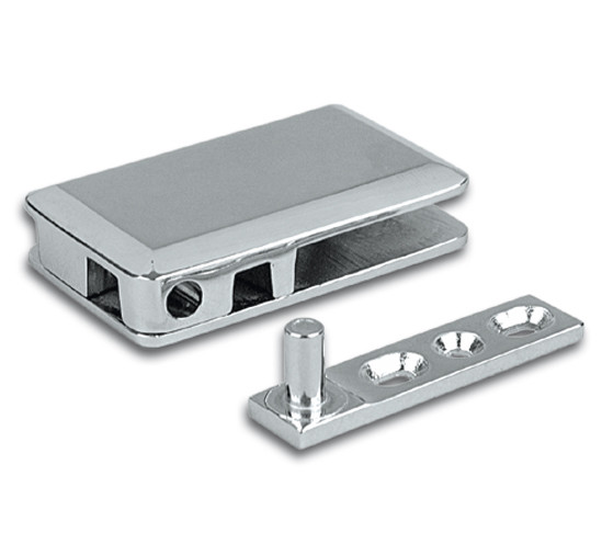 Glass patch fitting 65 x 40 polished chrome with floor and ceiling mounting plates