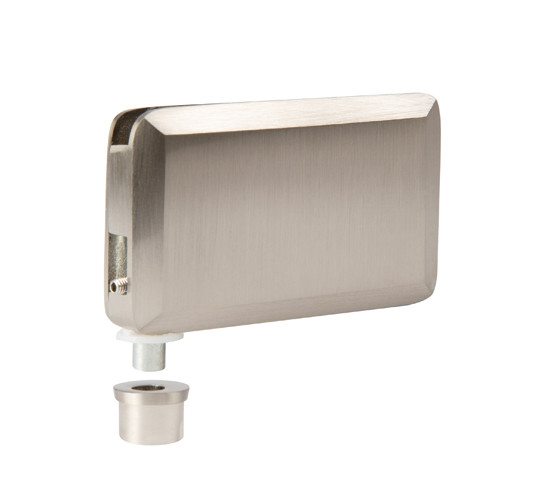 Glass patch fitting 65 x 40 stainless steel look with retractable axle and eccentric bushing