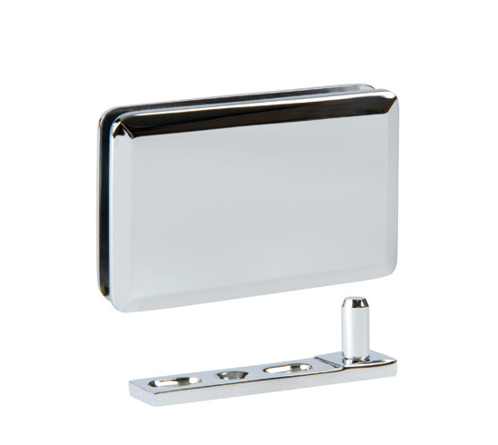 Glass patch fitting polished chrome with floor and ceiling mounting plates