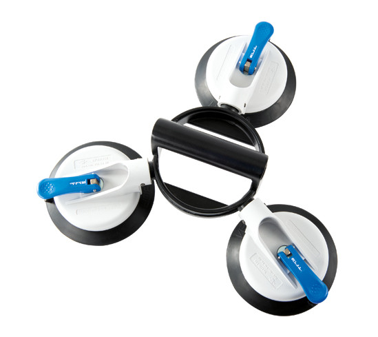 Veribor® 3-cup suction lifter with swivel heads and large rubber pads, made of plastic